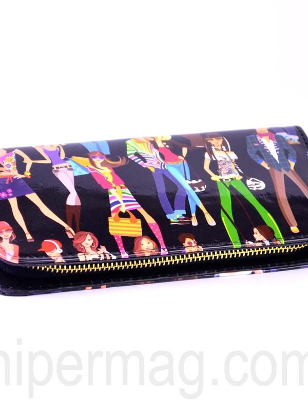 Черно дамско портмоне – десен парти