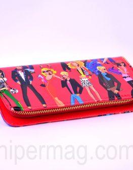 Червено дамско портмоне – десен парти