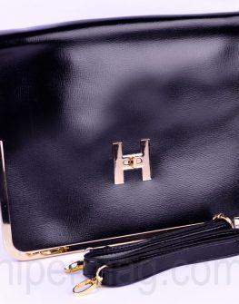 Черна дамска чанта - тип плик