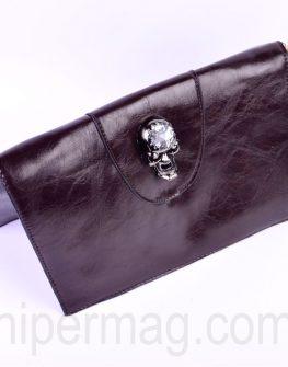 Малка кафява дамска чанта - череп