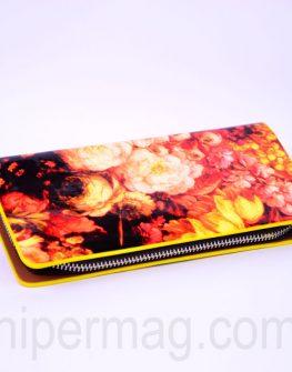 Красиво дамско портмоне - десен цветя 3