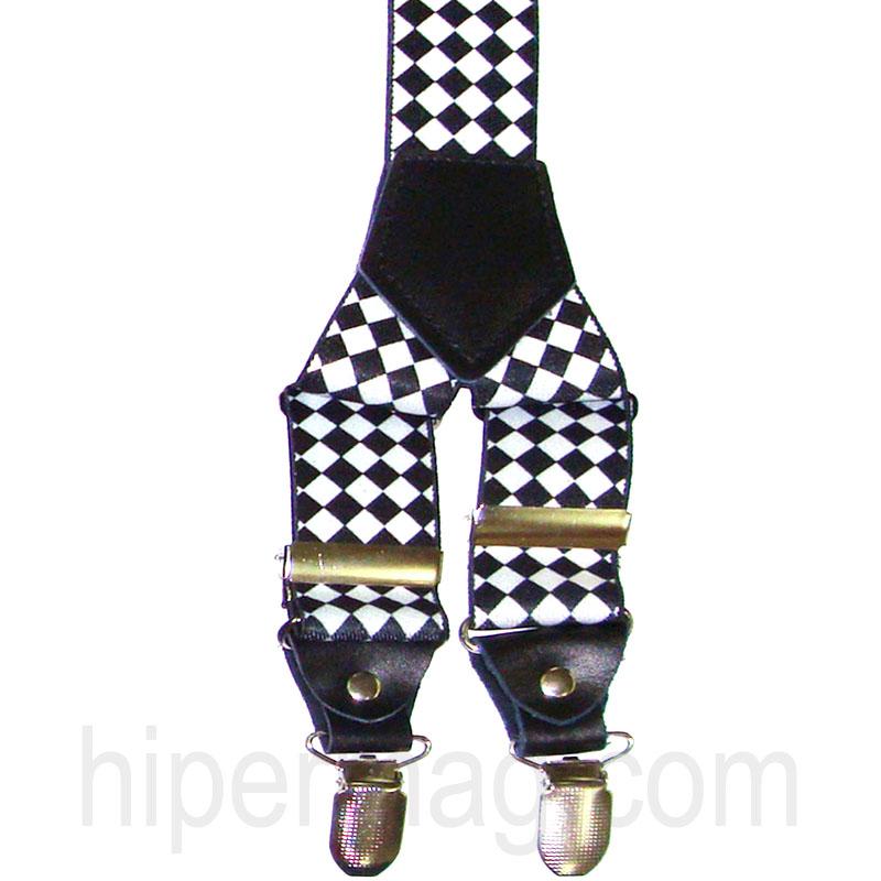 Тиранти Styler - десен черни и бели квадрати