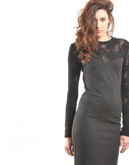 Елегантна черна рокля с дантела – от La Speciale