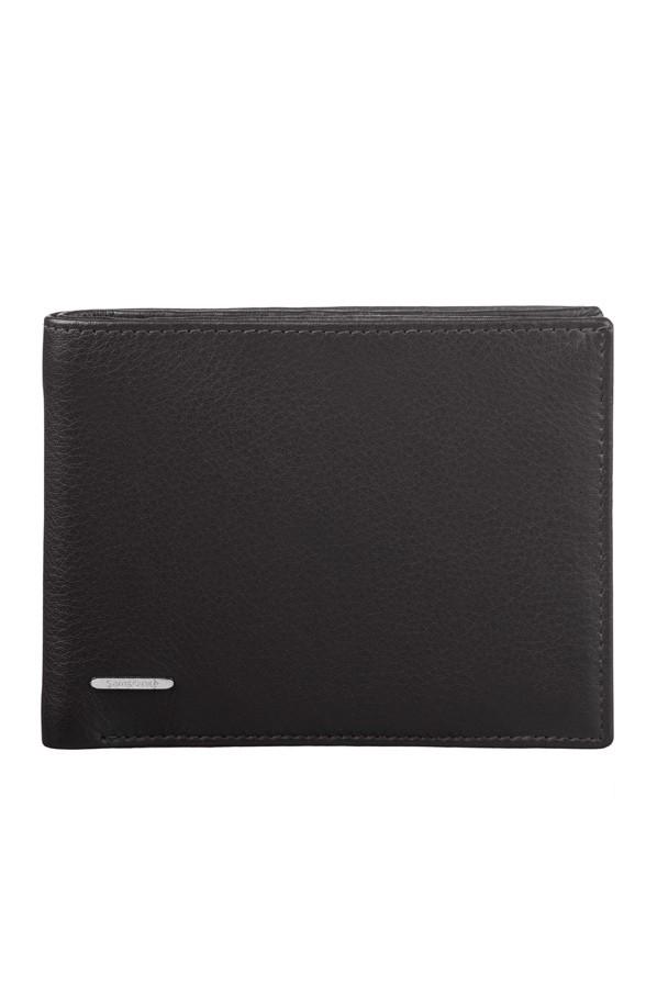 Хоризонтален черен портфейл Samsonite от естествена кожа