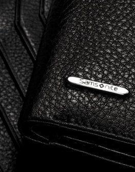 Mъжки портфейл Samsonite от естествена кожа, (черен)