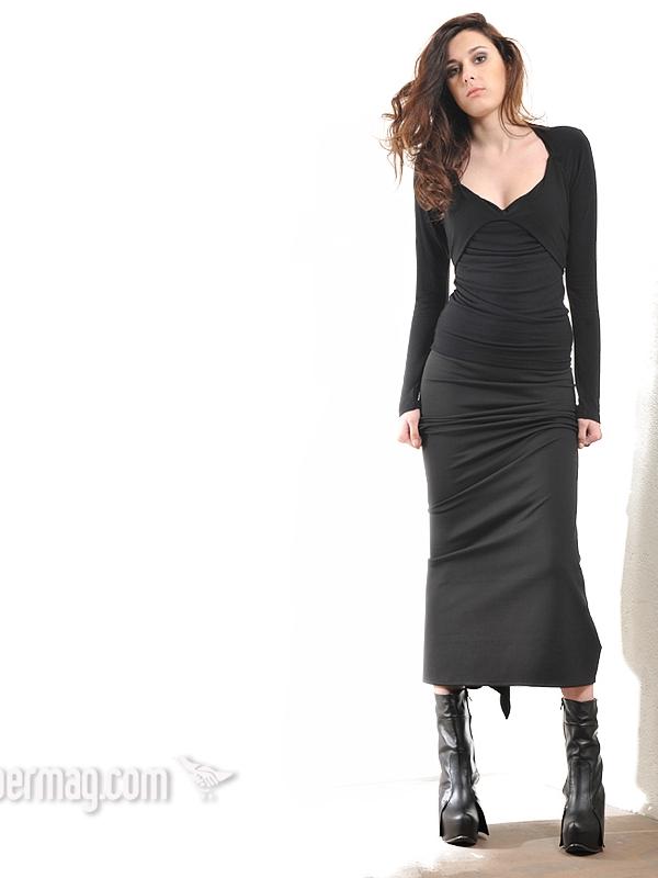 Черна дамска блуза с деколте шалове - La Speciale