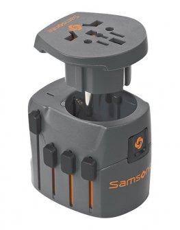 Заземен адаптер Samsonite за целия свят цвят графит