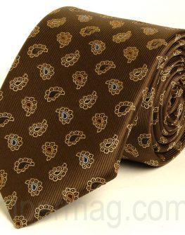 Тъмнокафява мъжка вратовръзка New Style с десен капки