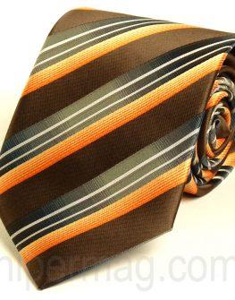 Мъжка вратовръзка New Style с десен на сиви, оранжеви и кафяви райета