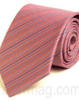 Красива розова мъжка вратовръзка New Style със сини райета