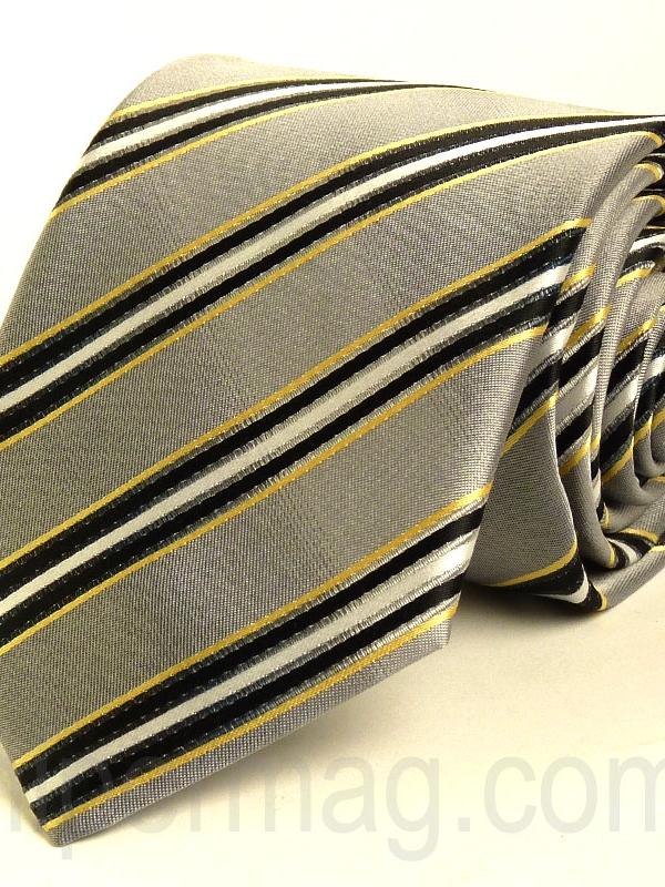 Светлосива мъжка вратовръзка New Style с десен райета