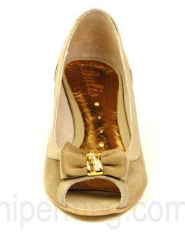 Тъмнобежови дамски обувки с нисък ток - Balis