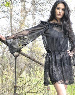 Дантелена рокля с два цвята подплата (чернобеж) – LaSpeciale