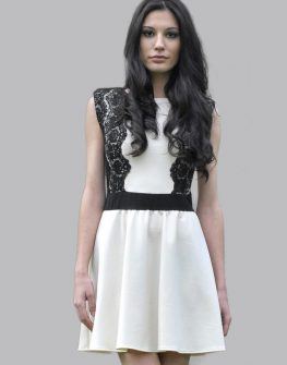 Къса бяла рокля LaSpeciale с черна дантела