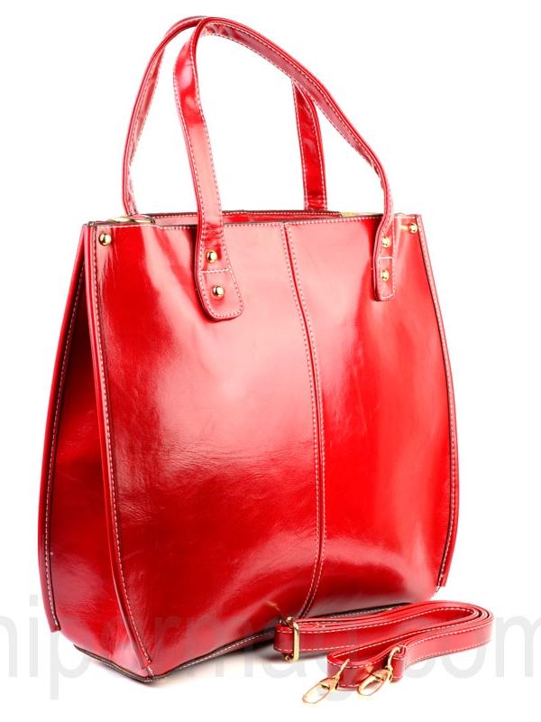 Червена дамска чанта от еко кожа
