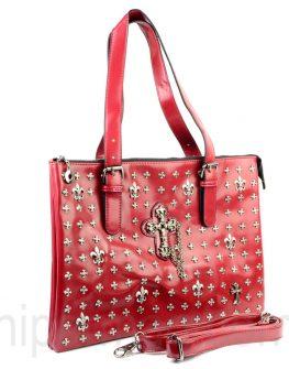 Екстравагантна дамска чанта в червено
