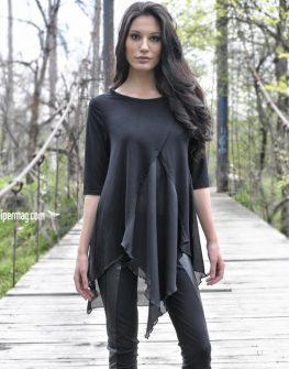Черна асиметрична дамска туника - LaSpeciale