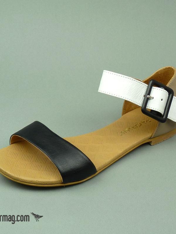 Дамски сандали в трицветен десен