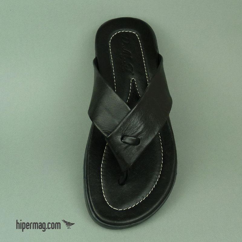 Черни мъжки чехли от естествена кожа