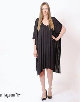 Къса свободна рокля с десен в черен цвят – LaSpeciale