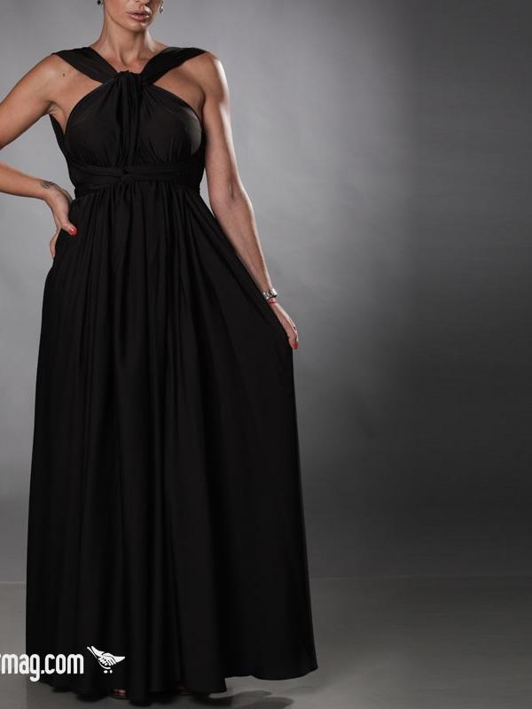 Дълга рокля с гол гръб в черно от AGGATA