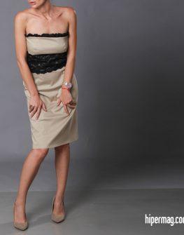 Елегантна рокля-бюстие от AGGATA - цвят беж