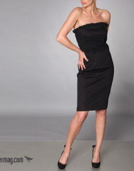 Изчистена черна рокля от памучна материя - AGGATA