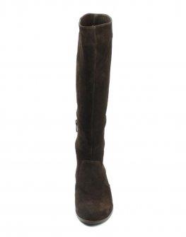 Кафяви ботуши от велур с малко лого, Sara Pen