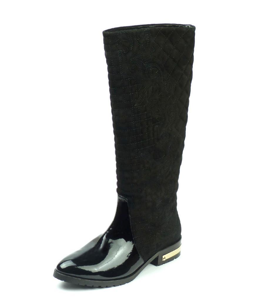 Дамски зимни ботуши от естествен лак и велур, Sara Pen