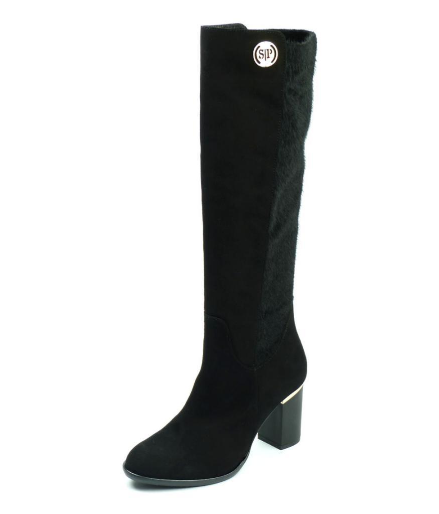 Високи дамски ботуши от черен велур, Sara Pen