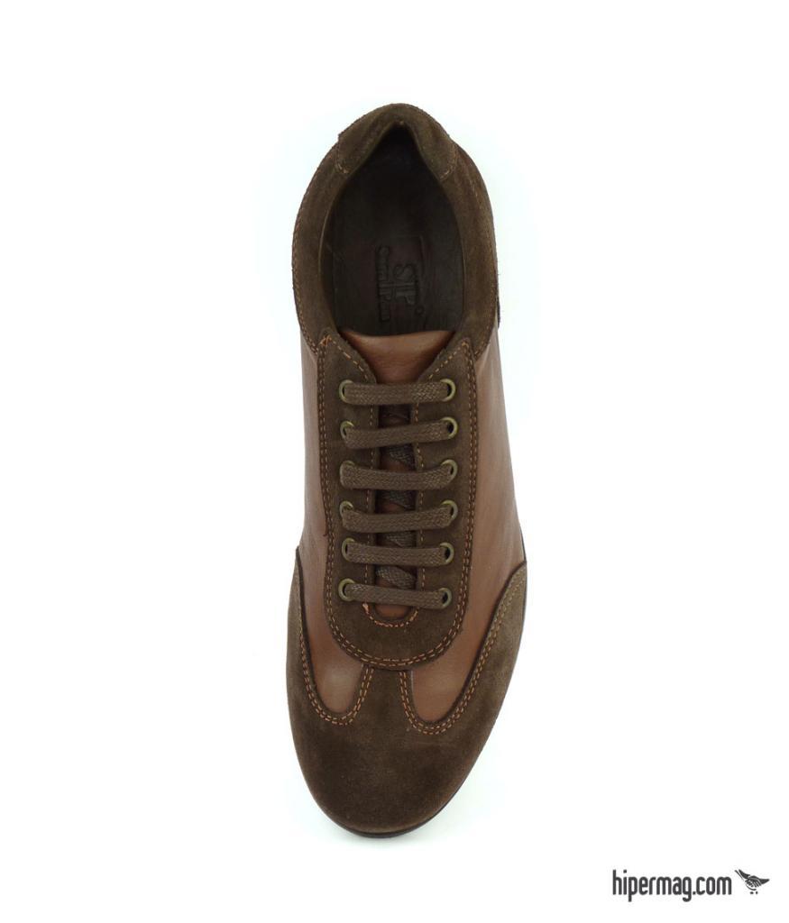 Мъжки спортни обувки от кафява кожа и велур