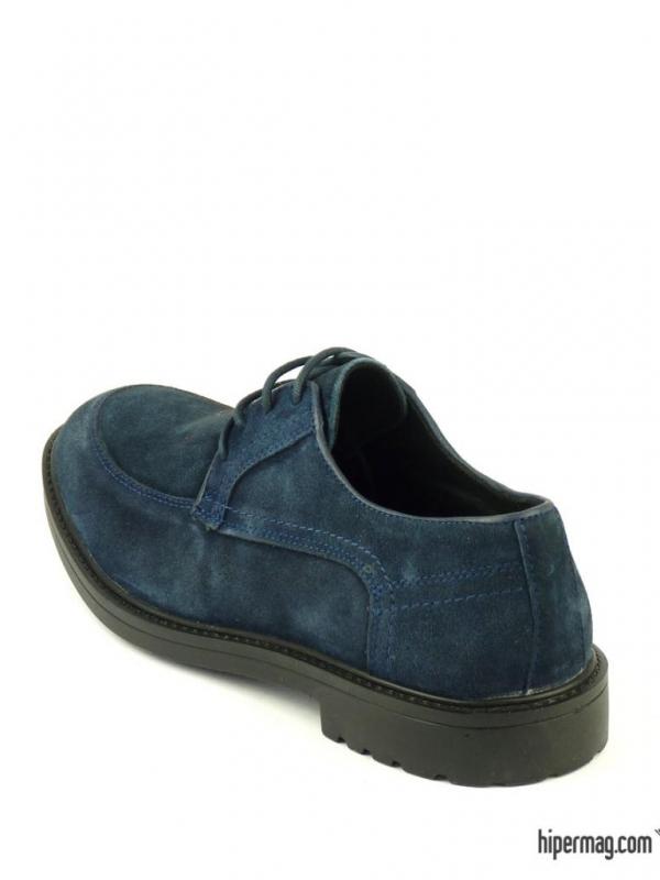 Мъжки обувки от велур в тъмен син цвят
