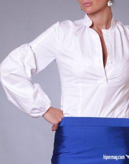 Екстравагантна бяла дамска риза с дълъг ръкав