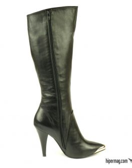 Черни високи ботуши от естествена кожа