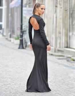 Изключителна дизайнерска рокля с гол гръб
