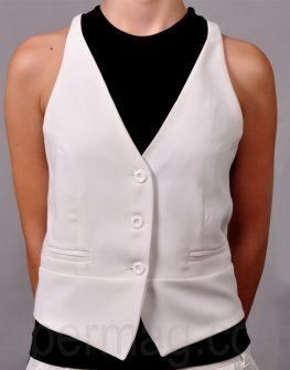 Екстравагантен костюм – елек и панталон в бяло La Speciale