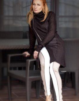 Дамска кафява жилетка с асиметричен цип