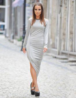 Дълга дизайнерска рокля с асиметрична линия