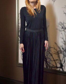 Черна дълга рокля солей Aggata