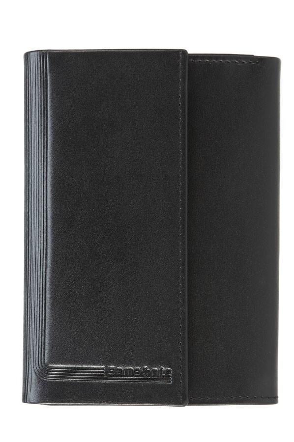 Samsonite – черен дамски портфейл от естествена кожа с 4 отделения за карти