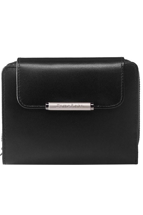 Samsonite – Дамски черен портфейл от естествена кожа с 8 отделения за карти
