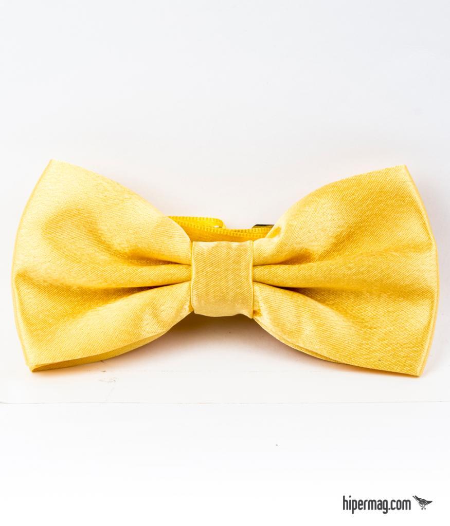 Ефектна мъжка папийонка в жълт цвят New Style
