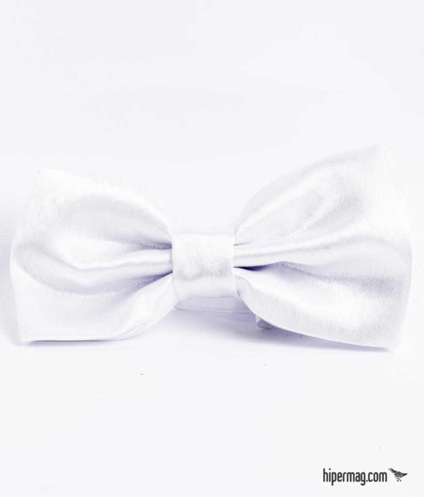 Мъжка папийонка в бял цвят New Style