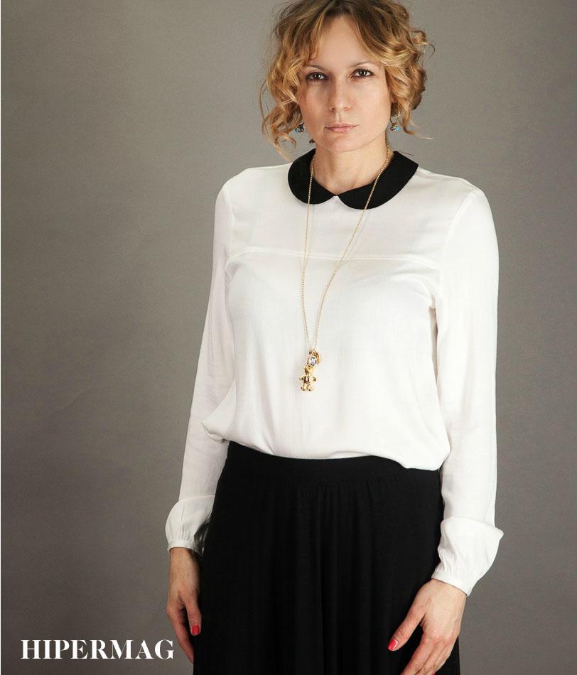 Дизайнерска риза в бял цвят AGGATA