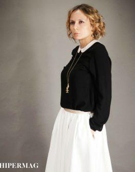 Дамска риза в черен цвят AGGATA