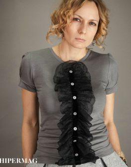 Сива блуза с къс ръкав AGGATA