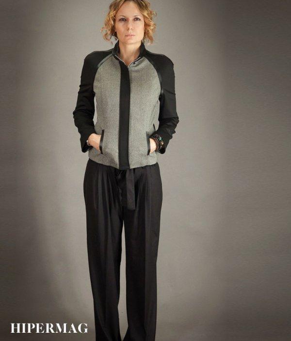 Стилно дамско яке в сиво и черно AGGATA