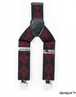 Тиранти Styler в черно и червено каре