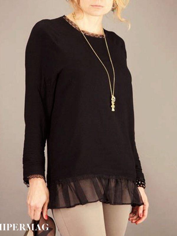 Стилна дамска блуза с дантели AGGATA