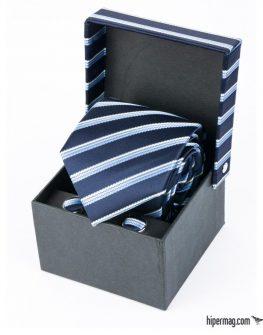 Комплект мъжка вратовръзка и ръкавели в синьо райе New Style